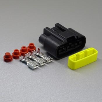 Sada vodotěsného konektoru 6.3 mm, 3 póly, černá - zásuvka (samice)