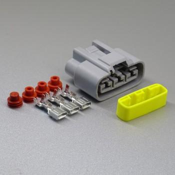 Sada vodotěsného konektoru 6.3 mm, 3 póly, šedá - zásuvka (samice)