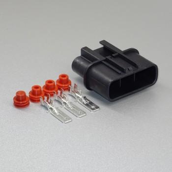 Sada vodotěsného konektoru 6.3 mm, 3 póly, černá - vidlice (samec)