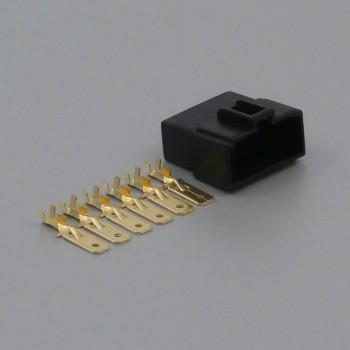 Sada konektoru Faston 6.3 mm, Special, 6 pólů, černá - vidlice (samec)