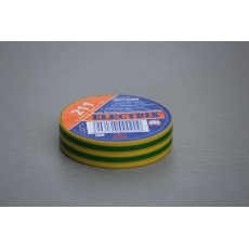 Izolační páska PVC, 15 mm, 10 m, zelenožlutá